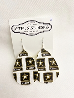 Faux Leather Army Earrings