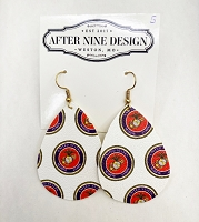 Faux Leather Marine Corps Earrings